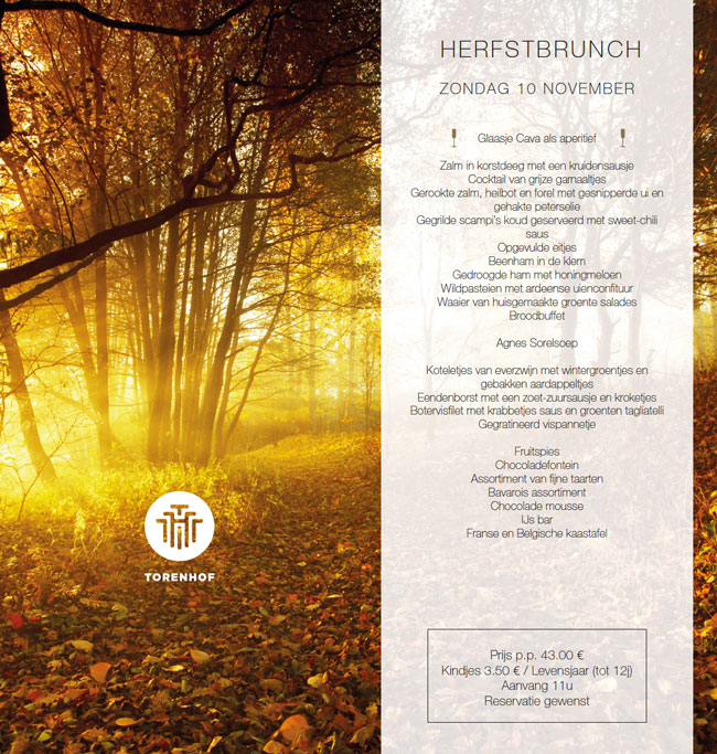 HERFSTBRUNCH ZONDAG 10 NOVEMBER